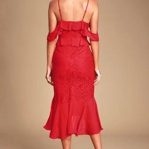 Lulu's Dresses - Dance of Romance Red Lace Cold-Shoulder Midi Dress